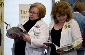 Staffers at the Hospital's book party