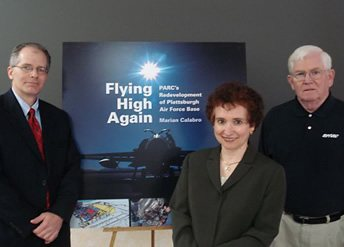 Marian Calabro with PARC executives Bruce Steadman (left) and Dennis Doyle at the book launch.