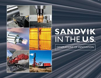 The cover features products from all of Sandvik's business groups against a background of extruded steel tubes produced at Sandvik's PEXCO plant in the Scranton area.