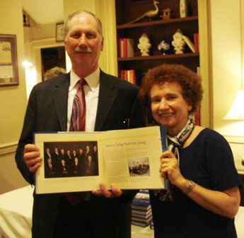 Salem Five Bank SVP Jeff Worth with Marian Calabro, President of CorporateHistory.net, who updated the Bank's history book for its 160th anniversary