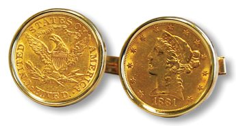 """The Wyatt Company, one of the """"strands"""" in Towers Watson's corporate DNA, crafted gold coins into gifts for employees with 10 or more years of service. Men received gold cufflinks such as these, and women received gold bracelets. Many current-day Towers Watson associates still treasure these anniversary keepsakes."""